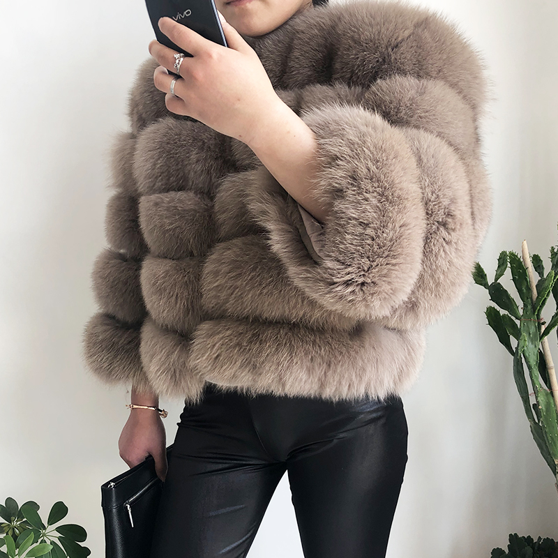 2019 new style real fur coat 100% natural fur jacket female winter warm leather fox fur coat high quality fur vest Free shipping 38