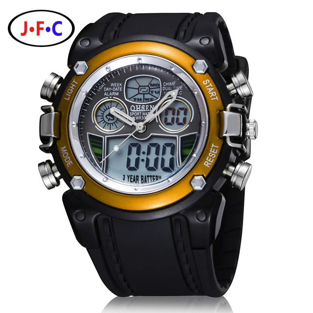 New OHSEN LCD Dual Core Mens Boys Sports Watches Alarm Date Day Stopwatch Black Rubber Band Wristwatch Dive Swim Military Watch