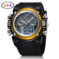 Nueva ohsen lcd dual core para hombre deportes masculinos relojes de alarma fecha Día Cronómetro Negro Rubber Band Reloj Nadar Buceo Militar reloj