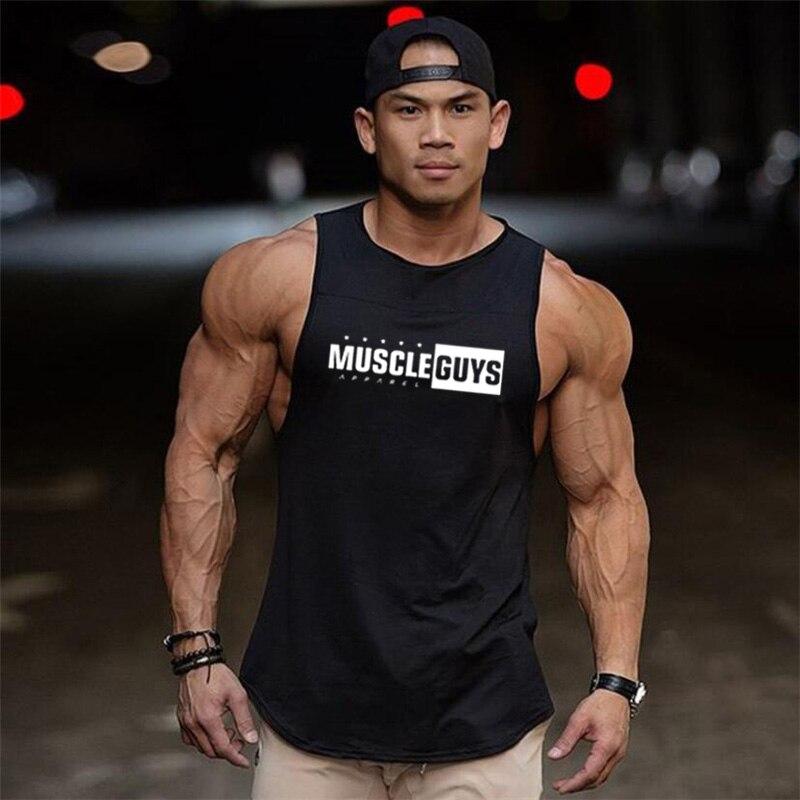 Muscleguys Fitness Cotton   Tank     Top   Men Vest Bodybuilding Clothing Sportswear   Tops   Sleeveless Shirt Brand Gyms Jersey Tanktop