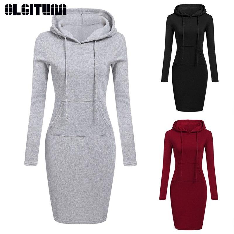 Hooded Drawstring Women Dresses Autumn 2020 Fashion Warm Dress With Pocket Women Casual Hoodies Sweatshirt Dresses Femme S-2XL