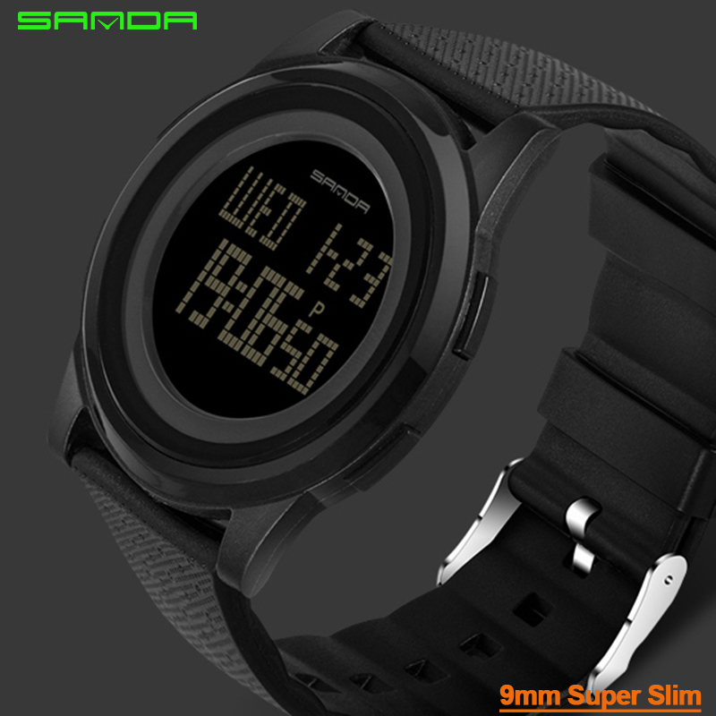9mm Super Slim Sanda Sport Watch Men Brand Luxury Electronic LED Digital Wrist Watches For Men Male Clock Relogio Masculino sport student children watch kids watches boys girls clock child led digital wristwatch electronic wrist watch for boy girl gift