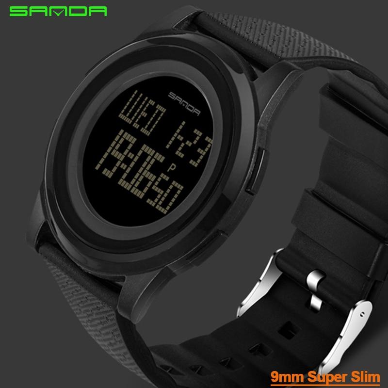 9mm Super Dünne Sanda Sport Uhr Männer Marke Luxus Elektronische LED Digital Armbanduhren Für Männer Männliche Uhr Relogio masculino 337