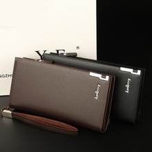 Long coin purse genuine leather zipper clutch bag multi-card position large-capacity hand mens wallet 3 fold