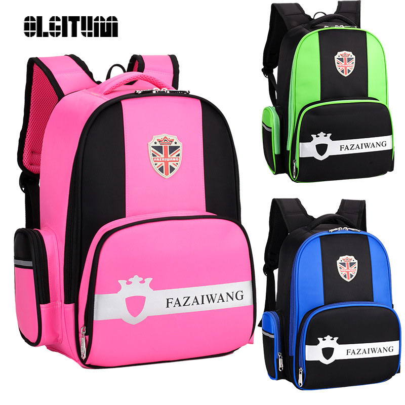 OLGITUM 2017 school bag 1 5 grade child schoolbag boys and girls ridge relief burden shoulder