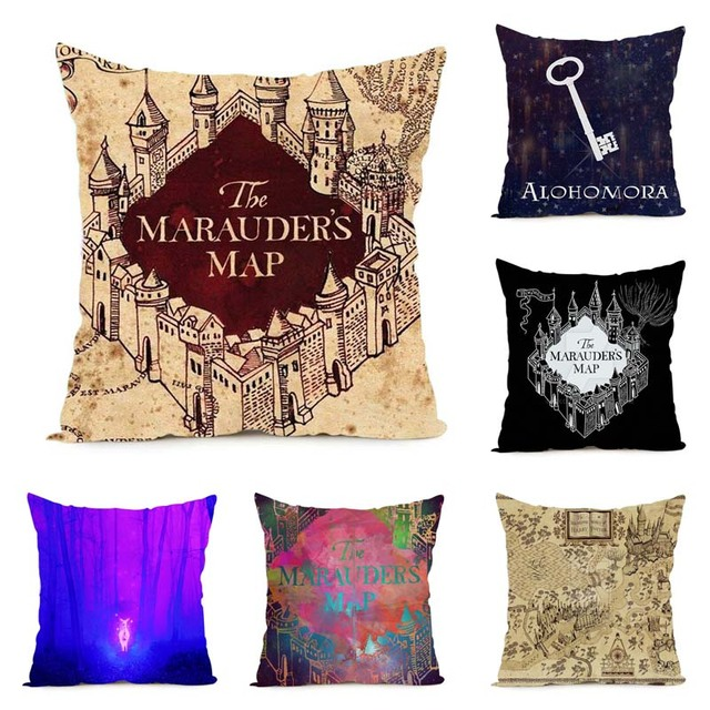 Harry Potter Slogans Symbols Patterns Throw Pillow Cover Decorative Massager Pillows Linen Zip DIY Home Decor