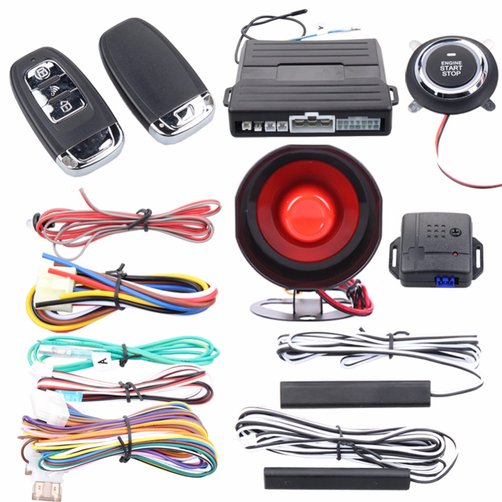 Good quality PKE car alarm system passive keyless entry remote engine start stop push button start stop remote trunk release sho universal smart rfid car alarm system push engine start stop button transponder immobilizer keyless go fits for dc 12v car