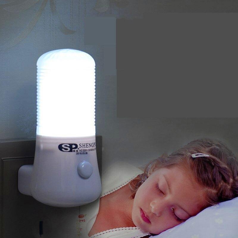 Image 2 - SXZM 1W Night Lamp 6 LED Night Light Bedside Lamp Wall Socket Lamp EU/US Plug AC 110 220V Home Decoration Light for baby gift-in LED Night Lights from Lights & Lighting
