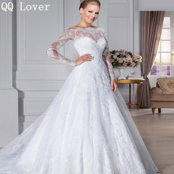 QQ Lover 2017 Vestido De Noiva Custom Made See Through Back Zipper Button Beaded Appliqued Long Sleeve Lace Wedding Dress