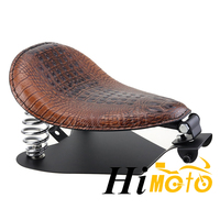 Brown Leather Motorcycle Retro Solo Seat With Spring Mount Bracket Seat Baseplate Kit For Harley Sportster Bobber Chopper Dyna