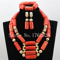 Natural African Coral Beads Jewelry Set Nigeria Wedding Simple Coral Beads Necklace Bracelet Earrings Set Free Shipping C001265