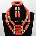 Naturales de Coral Perlas Africanas Joyería de La Boda Nigeria C001265 Simple Coral Cuentas de Collar Pendientes Pulsera Fijó El Envío Libre