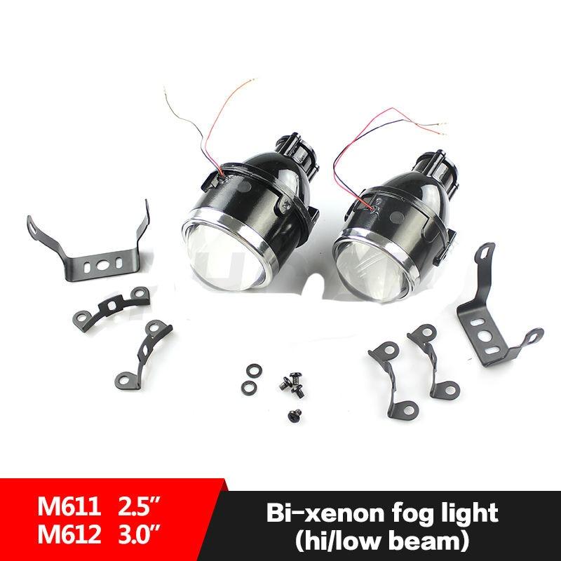 Voiture Moto Universel 2.5 pouce Bixenon Phares Anti-Brouillard Projecteur Lentille Bifocale Conduite Brouillard Lampes Aftermarket Rénovation Salut/Bas Kit
