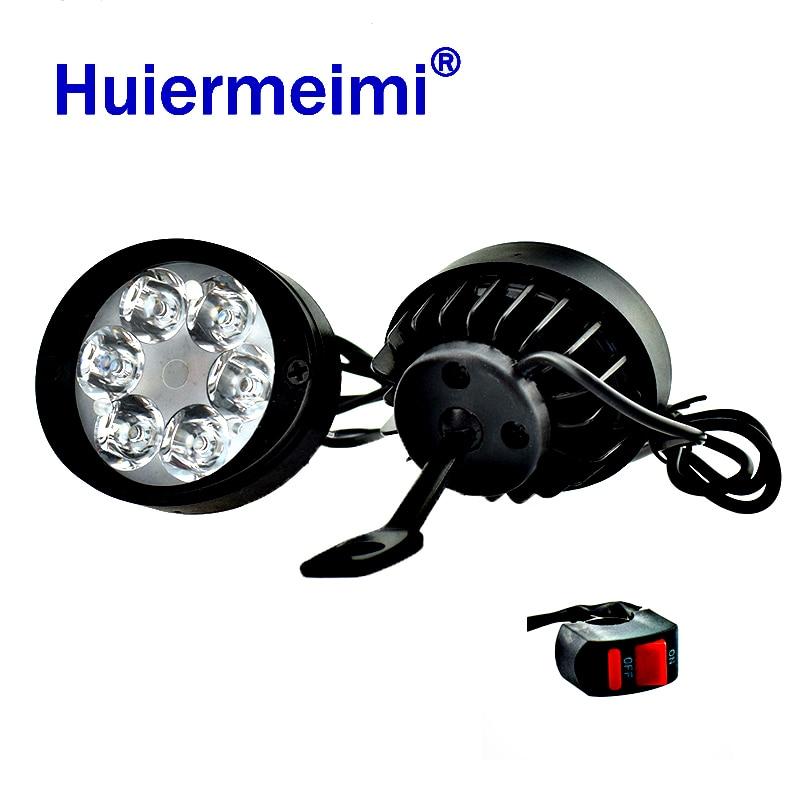 1Pair Motorcycle Spotlight LED Headlight LED12V 24W Moto Side Mirror Lights Motorbike Driving Headlamp 6000K Head Spot Work Lamp