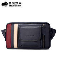 Brand BISON DENIM Fanny Pack Men Waist Bag Cowhide Genuine Leather Casual Travel Crossbody Belt Bag Men's Beach Bag Waist Pack