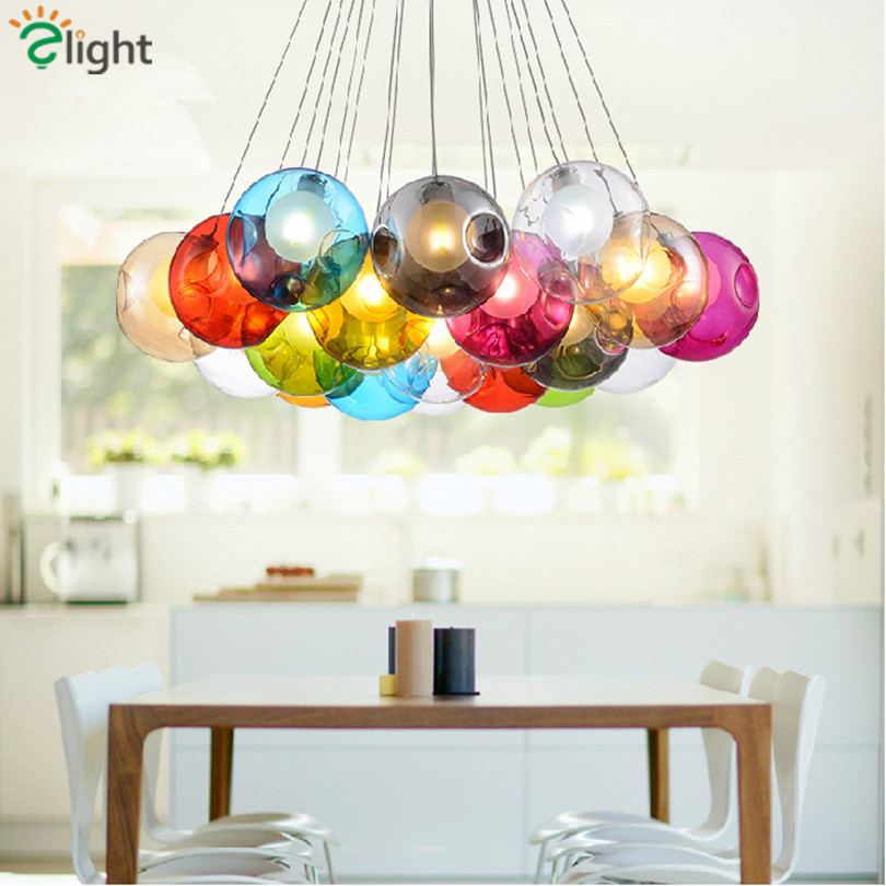 Modern Colorful Led Chandeliers Lustre Bump Glass Bubble Dining Room Led Chandelier Lighting Living Room G4 Led Hanging Lights creative design modern led colorful glass pendant lights lamps for dining room living room bar led g4 85 265v bubble glass light
