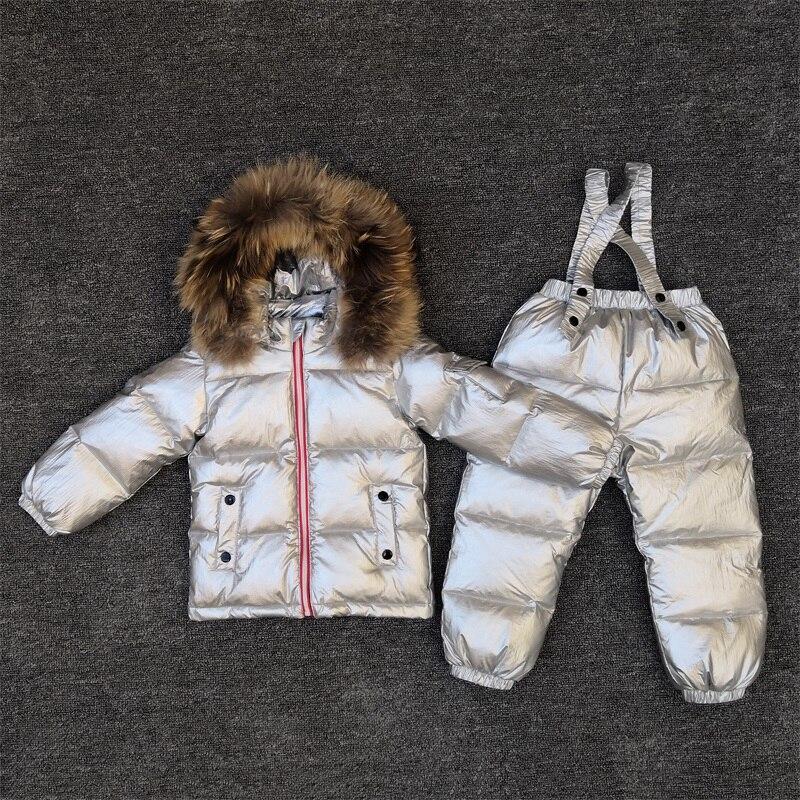 Baby Winter Warm Suit Boy Outdoor Ski Down Jacket Baby Down Jacket Two-piece Girl Shiny Silver Waterproof Warm Pike Coat Online Shop