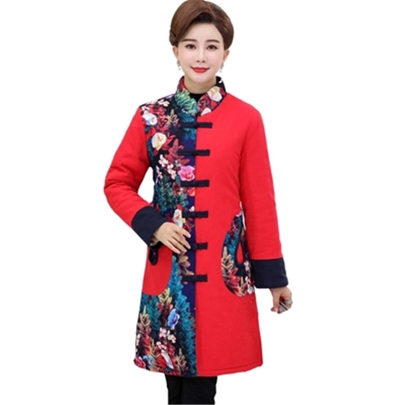 Winter Vintage Large Size Women   Parkas   Coat Chinese Style Big Size Female Warm coat Embridery Cheongsam collar women OutwearJ877
