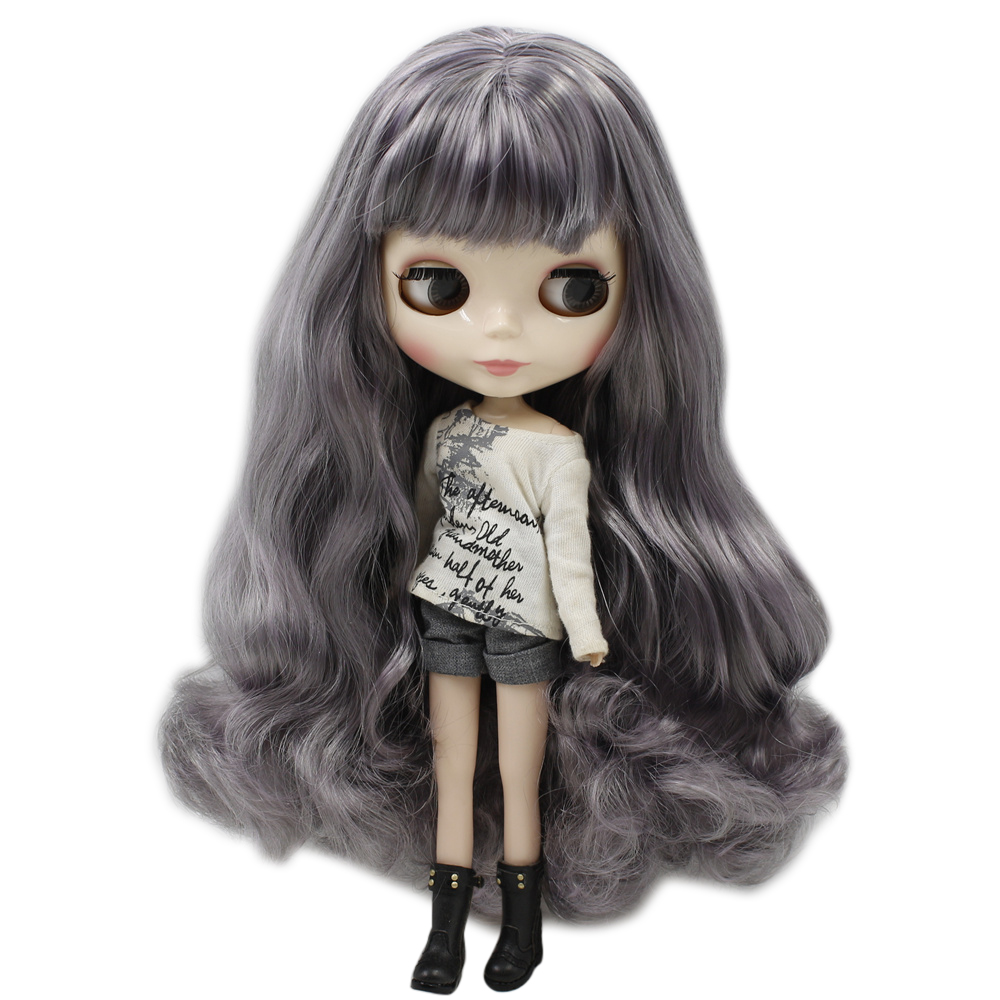 ICY Nude Blyth Doll Series No 9016 1049 Gray mix Purple hair with bangs White skin
