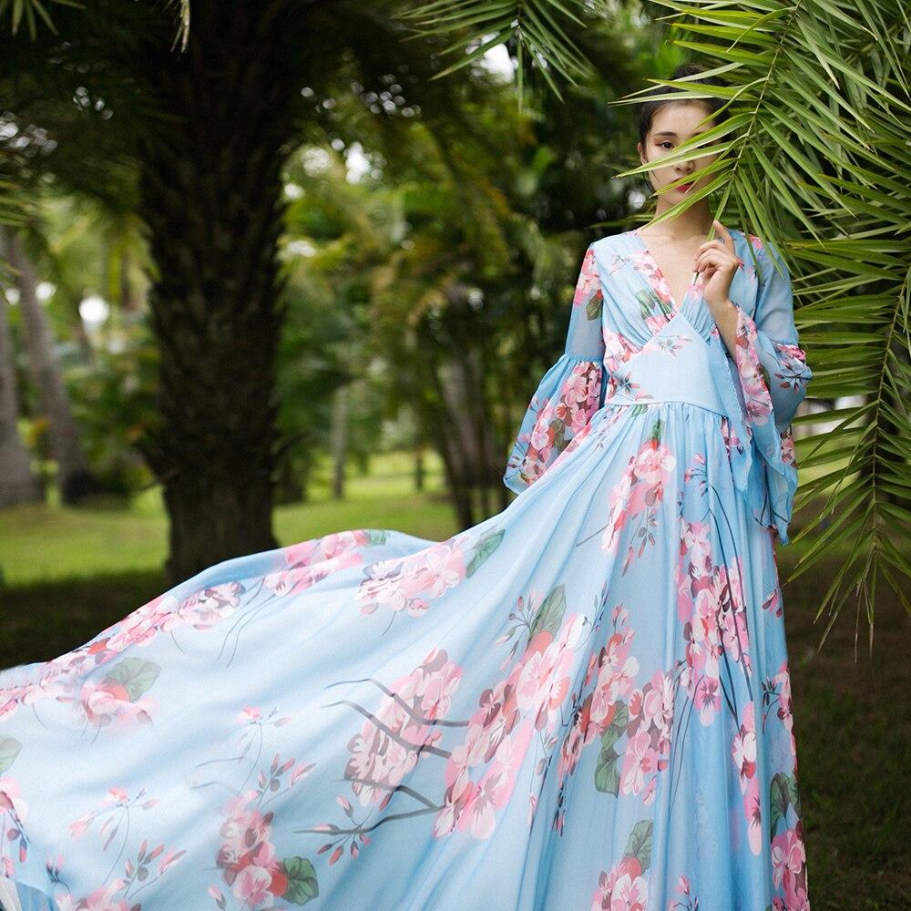 MM183 Original Design Summer 2017 vintage large bottom v neck flare sleeve long maxi blue floral printed chiffon dress women