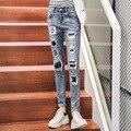 Venta caliente 2016 Nueva de La Vendimia Del Agujero Rasgado Vaqueros Mujer Alta cintura Los Pantalones Vaqueros Delgados Mujeres del Dril de Algodón Recto Pantalones Jeans Femme Mujer C530