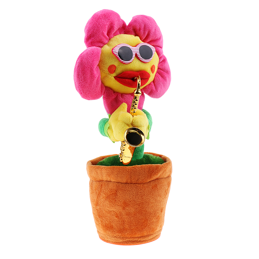 Singing Dancing Sunflower with Saxophone, Singing Toy Children Happy Playing Game, Plush Stuffed Toy, Kids Birthday Gift
