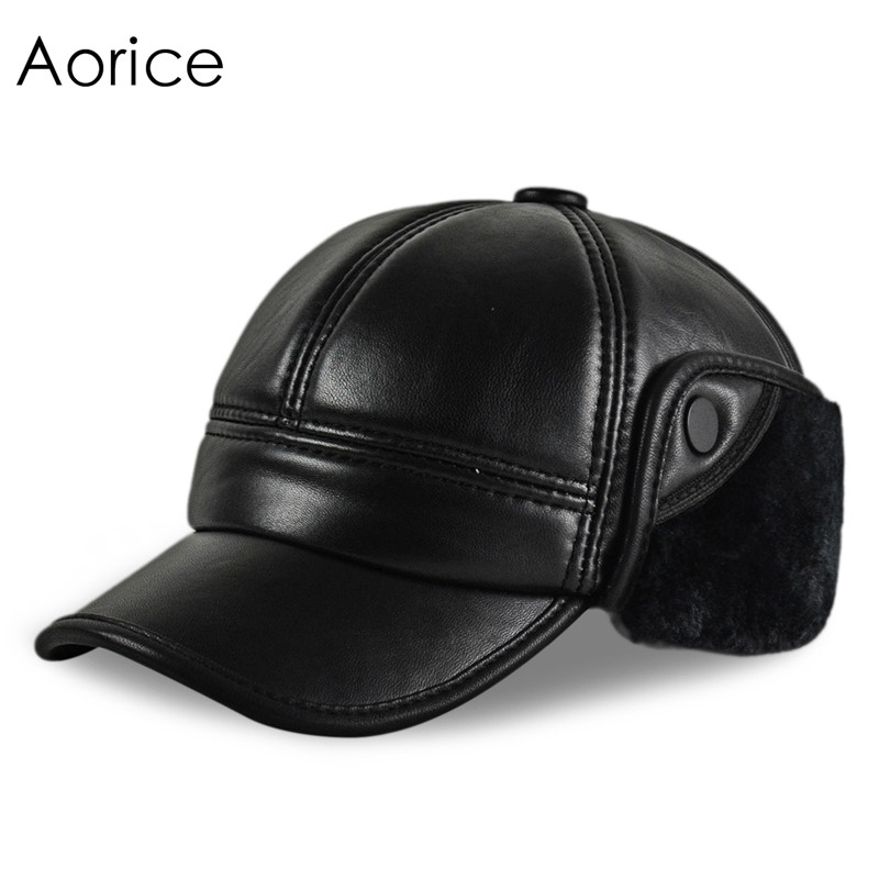 HL165-F Genuine leather baseball cap hat  men's winter brand new cow skin leather hats caps black with Faux fur inside