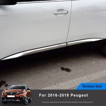 цена на 4pcs Stainless steel car detector Side Door Body trim sticks Strips Molding For Peugeot 3008/4008 2016 2017 2018