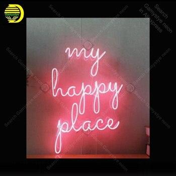 Neon Burcu Benim Mutlu Yer Cam Tüp Neon Ampuller Işareti Sanat Bar Yatak Odası Ekran Aksesuarları neon ışık Dekor Odası restoran duvar