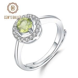 Image 1 - Женское регулируемое кольцо из серебра 925 пробы с натуральным хризолитом