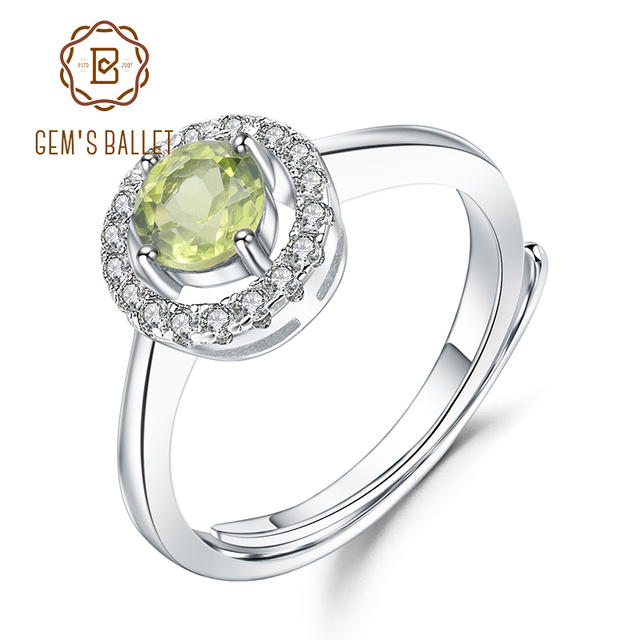Женское регулируемое кольцо из серебра 925 пробы с натуральным хризолитом