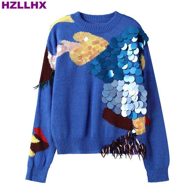 Hzllhx точка блестками алмаз синий мохер свободный свитер с длинным рукавом ленивый стиль fashiona женские пуловеры дамы Chic джемпер осень