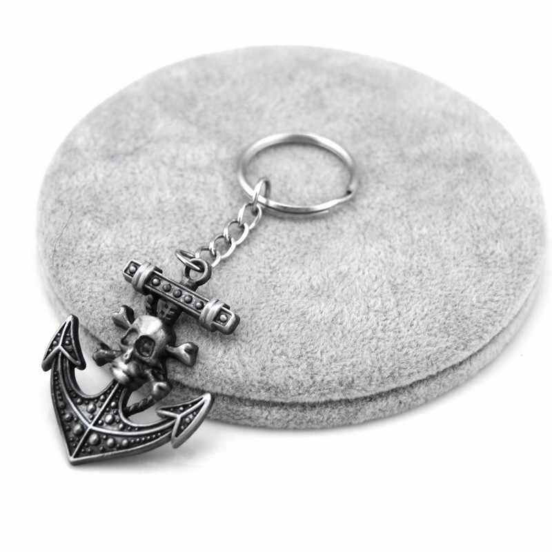 Vintage srebrny kotwica człowiek brelok ozdoba Retro czaszka kotwica breloczek steru breloczek biżuteria pamiątki prezent mężczyźni Llaveros