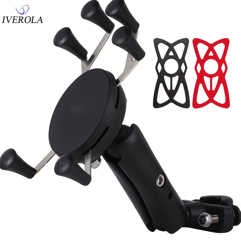 Univerola Motorcycle Handlebar Bike Phone Mount Holder Support Bicycle With Silicone Band X-grip For Gopro Smartphone GPS Holder