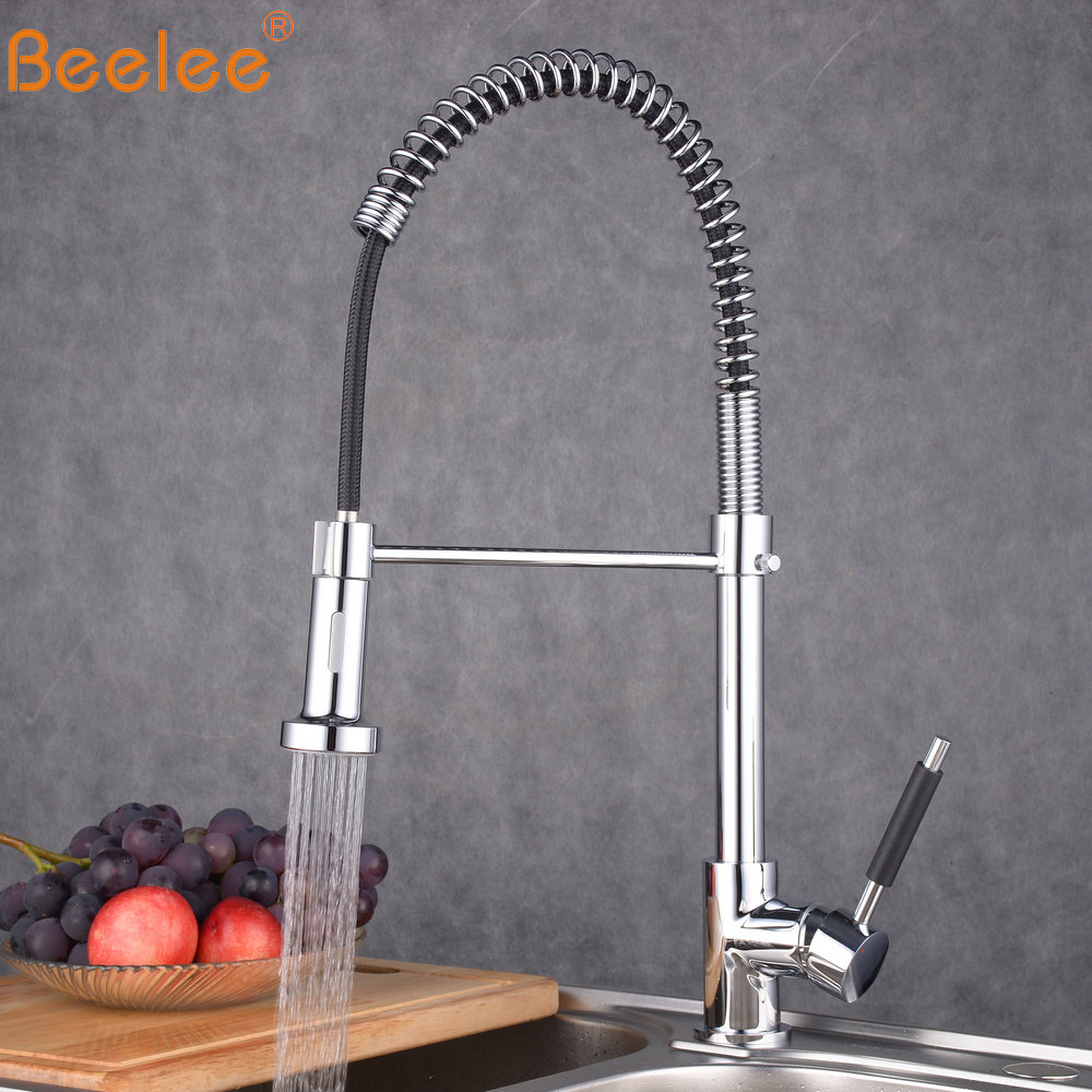 Beelee Pull Out Kitchen Faucet Single Holder Single Hole Water Outlet Chrome Cast Pull Swivel Mixer Tap