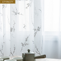 CITYINCITY Japanese style curtains for living room Burnt-out tulle  kitchen soft white curtain For bedroom Window  voile
