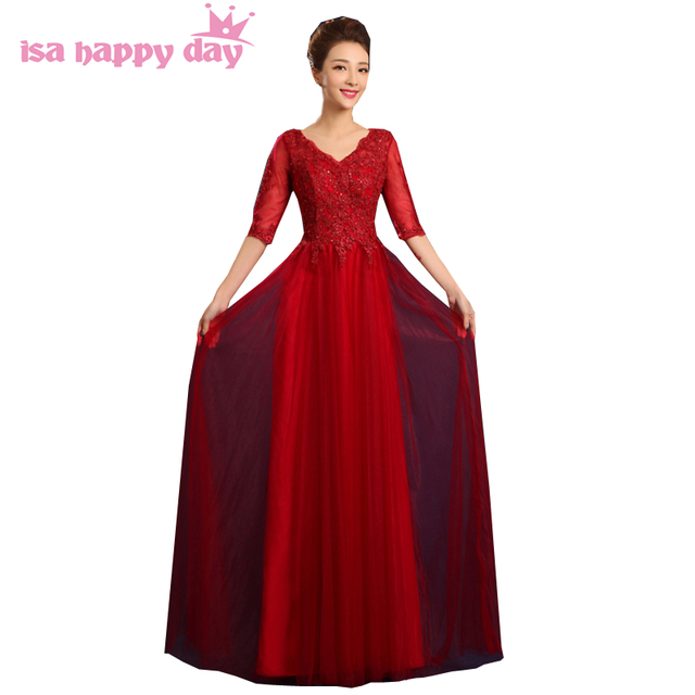 780e5115d المناسبات الخاصة امرأة طويلة الأكمام النبيذ الأحمر فستان طويل تول رداء  حفلات للنساء أنيقة مساء مهرجان