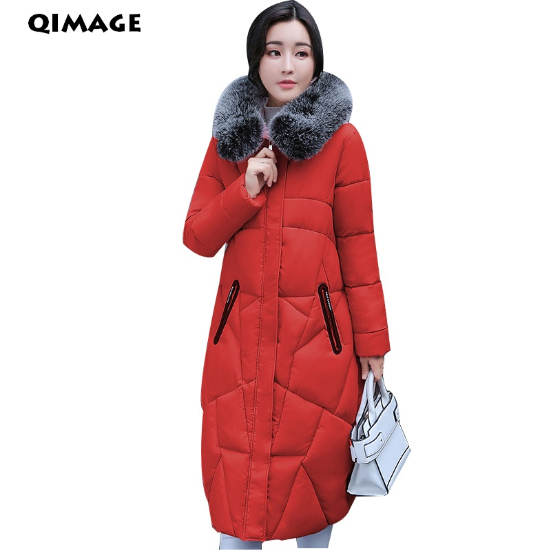 QIMAGE Winter Long Jackets Coats 2017 Women Parkas Long Slim Thick Warm Jackets Female Fur Collar Hooded  Cotton Parkas 6Colors new women winter cotton jackets long coats hooded fur collar parkas thick warm jacket plus size female slim outerwear okxgnz1072