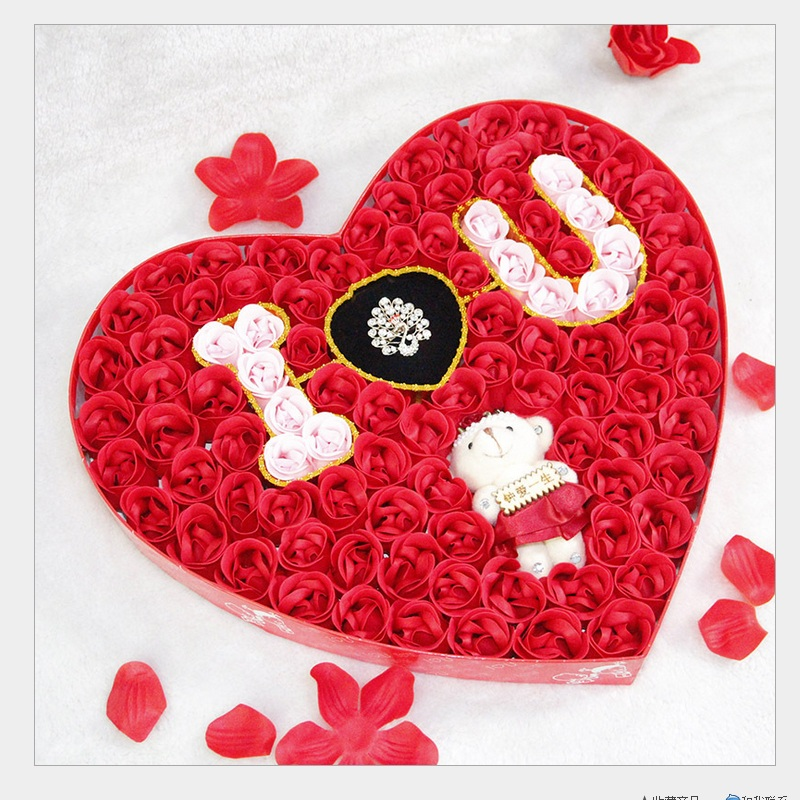 ФОТО 2014 Fashion rose soap flower + LOVE + little bear (100 soap flower in box) Wedding Valentine's day Mother's day gifts Good gift