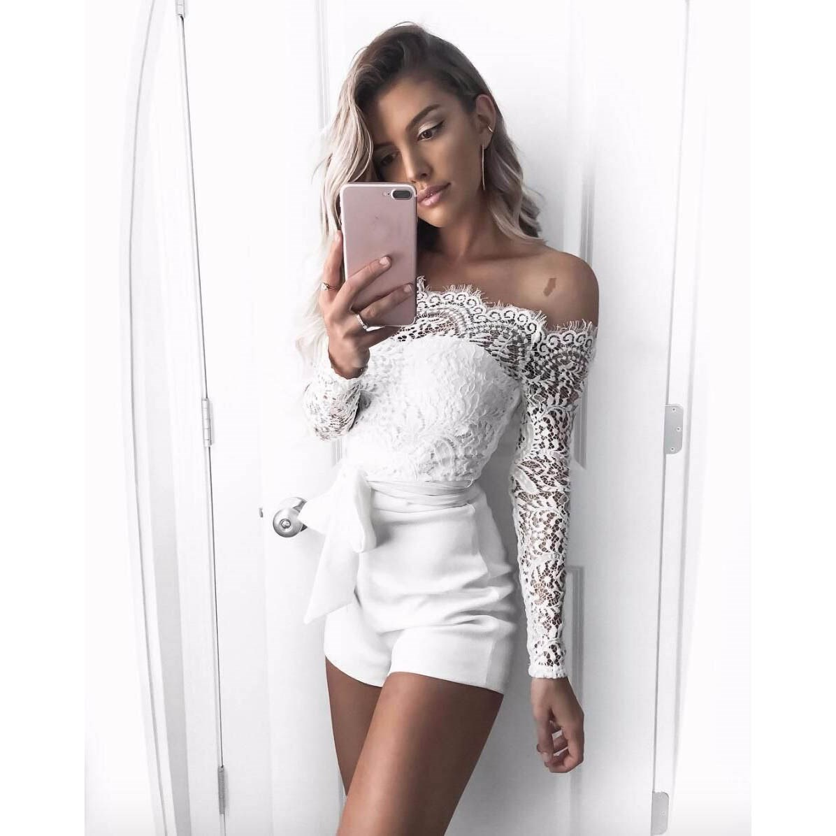 Autumn New Embroidery Floral Lace Jumpsuit Women Off Shoulder Skinny Elegant Playsuits Sexy Rompers Overalls