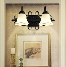 Iron Glass Wall Sconce Dresser Light Double Head 3 Bedroom Bedsides Lamp Flower Style Mirror Front For Home Lighting
