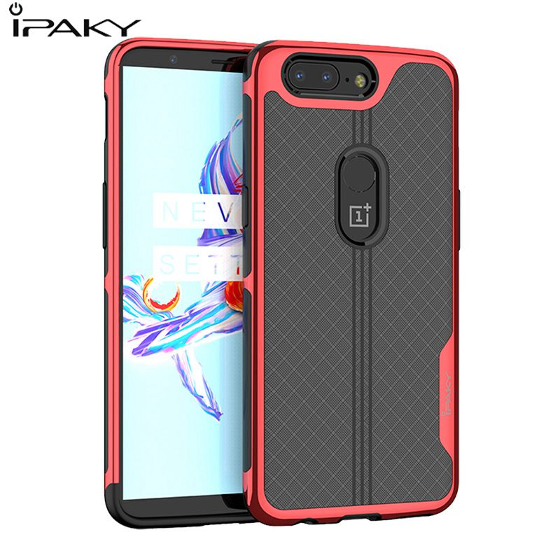 IPAKY Full Cover Electroplate Frames Luxury Anilox Back For Oneplus 5T Case TPU+PC 2 In 1 1+5 T one plus 5 TCoque