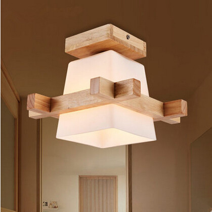 Wood Concise Modern Led Ceiling Lights Gl Lampshade Creative Bedroom Indoor Lighting Fixtures For Bar Cafe Home Lightings In From