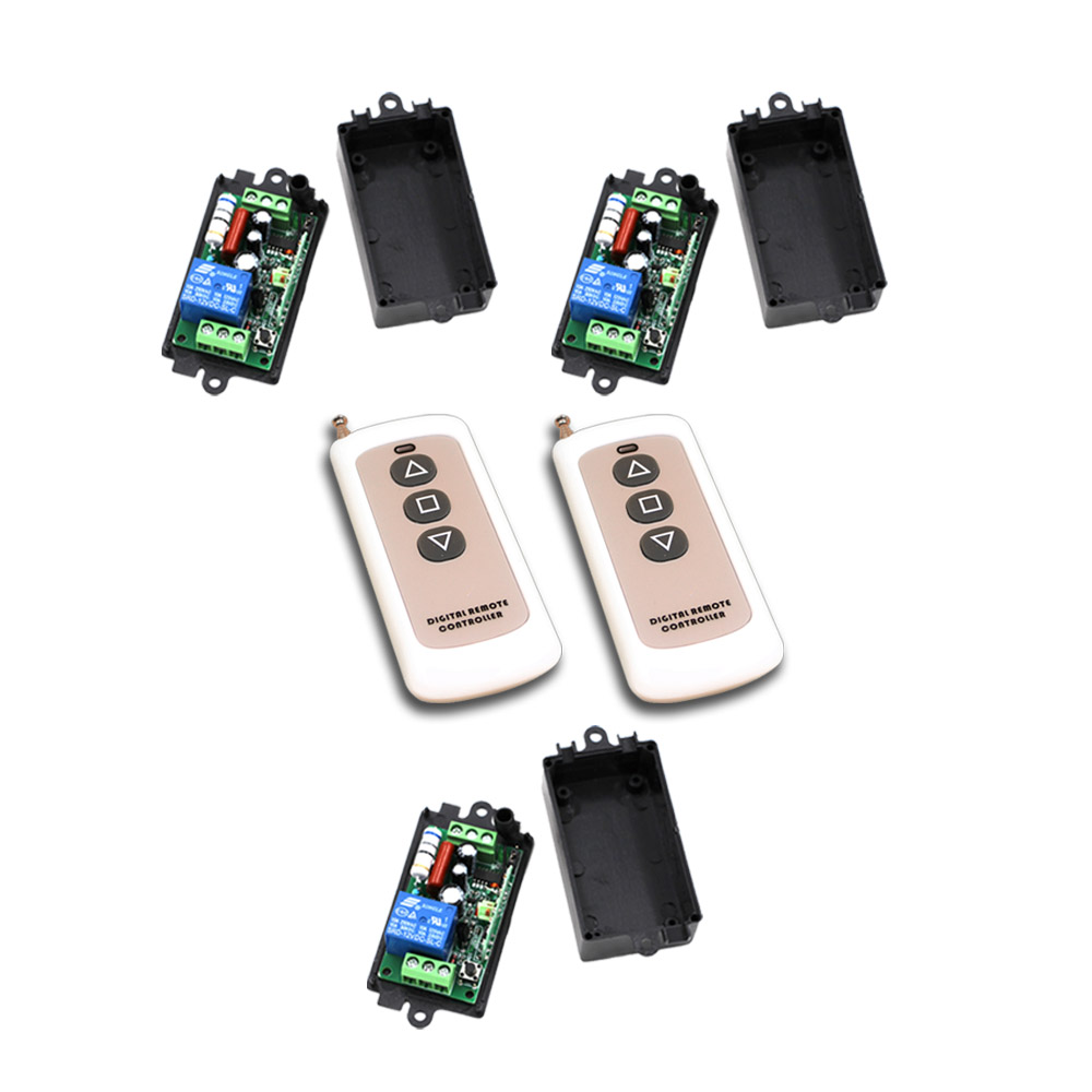 Free Shipping AC110V 220V 1CH RF Wireless Remote Control Switch System 2Transmitter +3Receiver with Black Case 315/433mhz wireless pager system 433 92mhz wireless restaurant table buzzer with monitor and watch receiver 3 display 42 call button