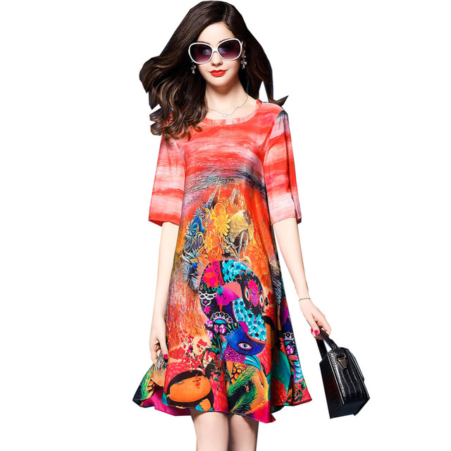 Women Summer Loose Vintage Printed Tunic Silk Tunic Short Party Flare Dress Plus Size In Dresses From Womens Clothing Accessories On Aliexpress