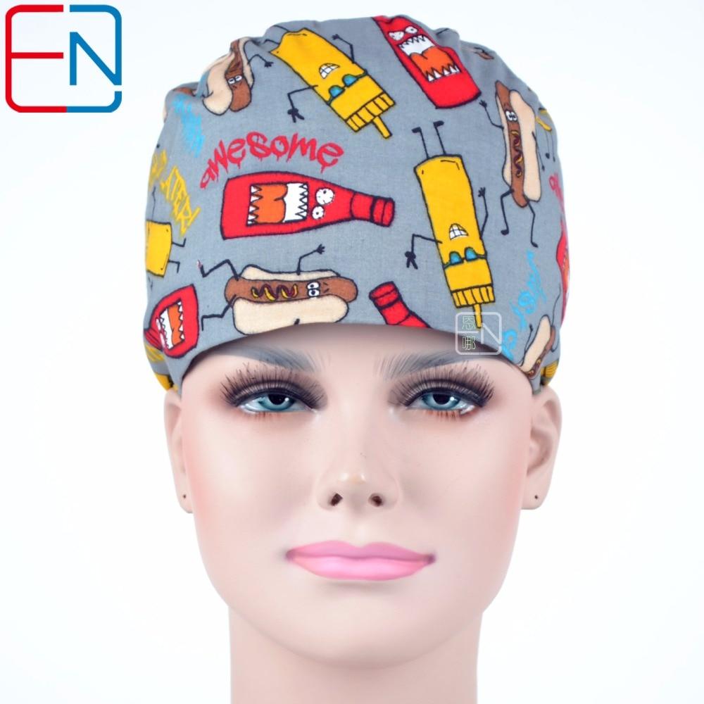 Hennar 2018 Print Surgical Caps Masks Gray Cotton Medical Scrub Hats High Quality Medical Cap Mask Hospital Accessories