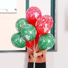 AVEBIEN 10pcs Green/Red Dot Christmas Decoration Emulsion Balloon Hotel Mall Snowflake Santa Claus Balloons