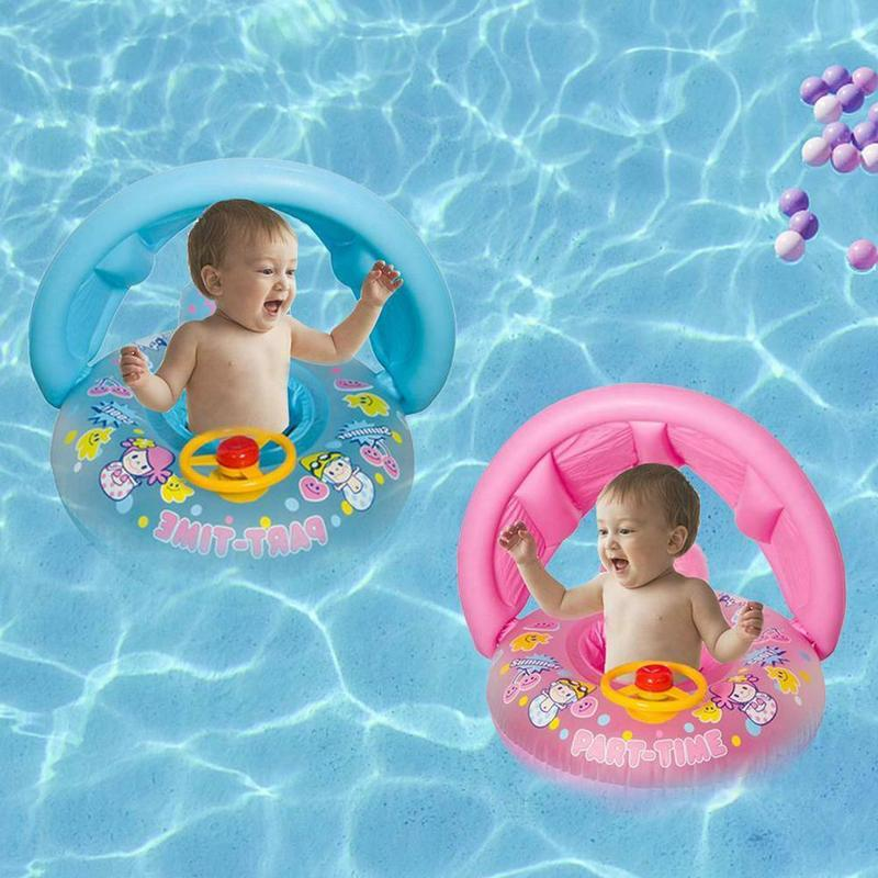 1-3 Years Old Baby Floats Swimming Ring With Steering Wheel Baby Pool Seat Toddler Float Water Ring Aid Trainer With Sun Shade