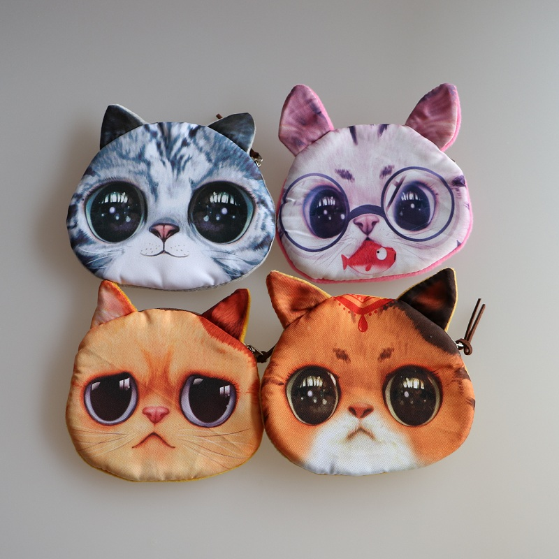 Novelty coin purses Cute Dog / Cat Face Zipper Case Coin Purse Wallet Zipper Case purse Makeup Buggy Bag Pouch Clutch Bag