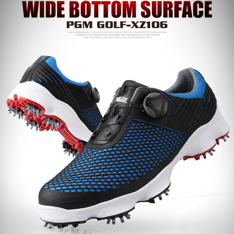 PGM golf shoes mens waterproof sneakers wide version soles rotating shoelaces anti-slip studs sports tennis shoes Skeleton upper